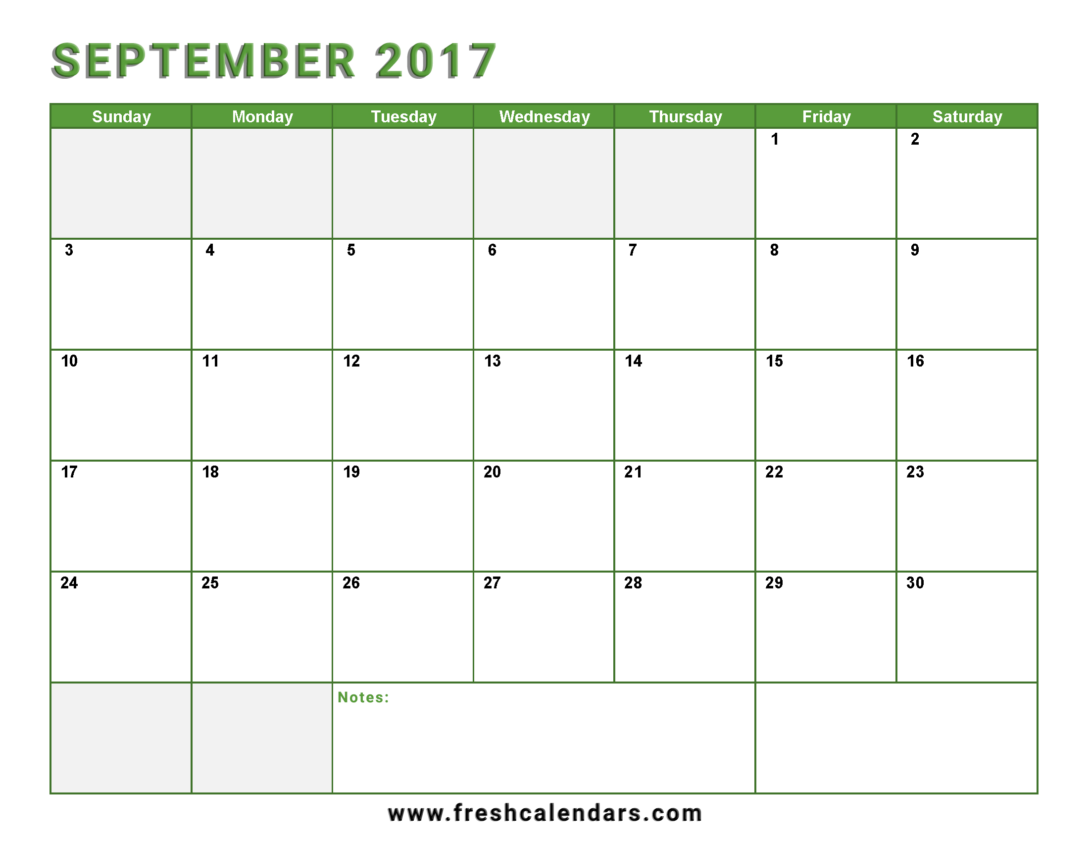 September 2017 Calendar Green Color Printable Free With Notes