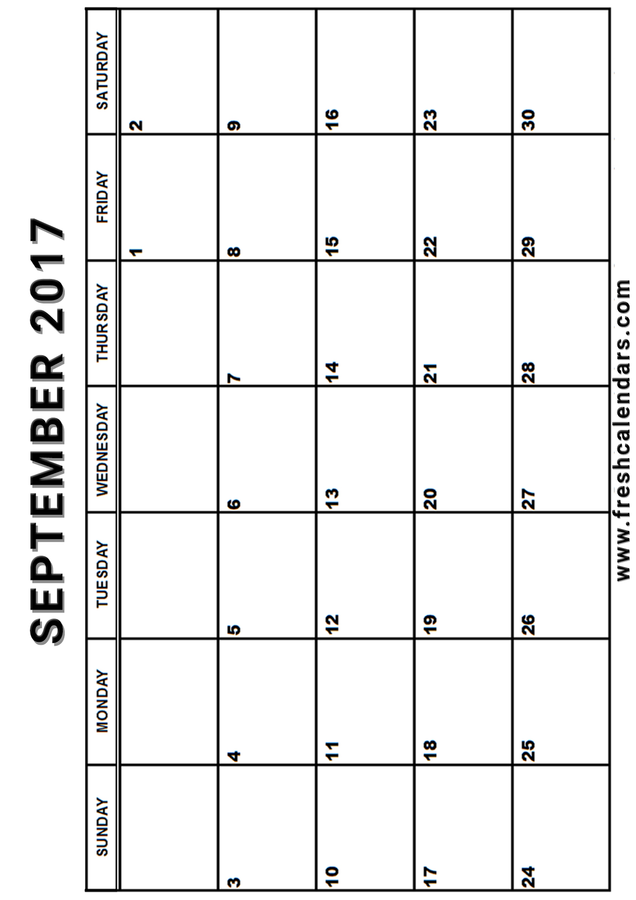 Vertical 2017 September Calendar With Days Free Printable Download