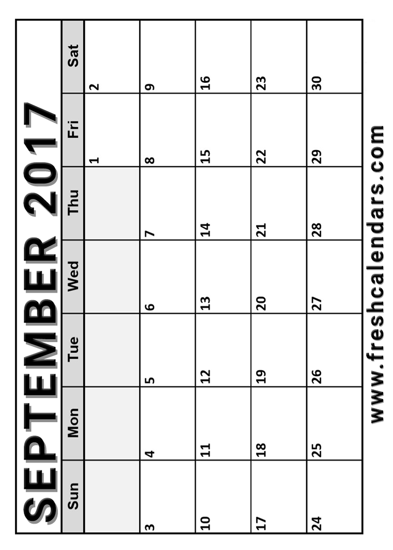 Vertical September 2017 Calendar Free Printable Format HD