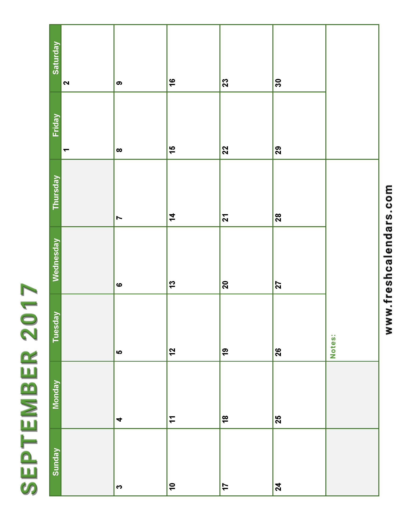 Vertical September 2017 Calendar Green Color Printable Free With Notes