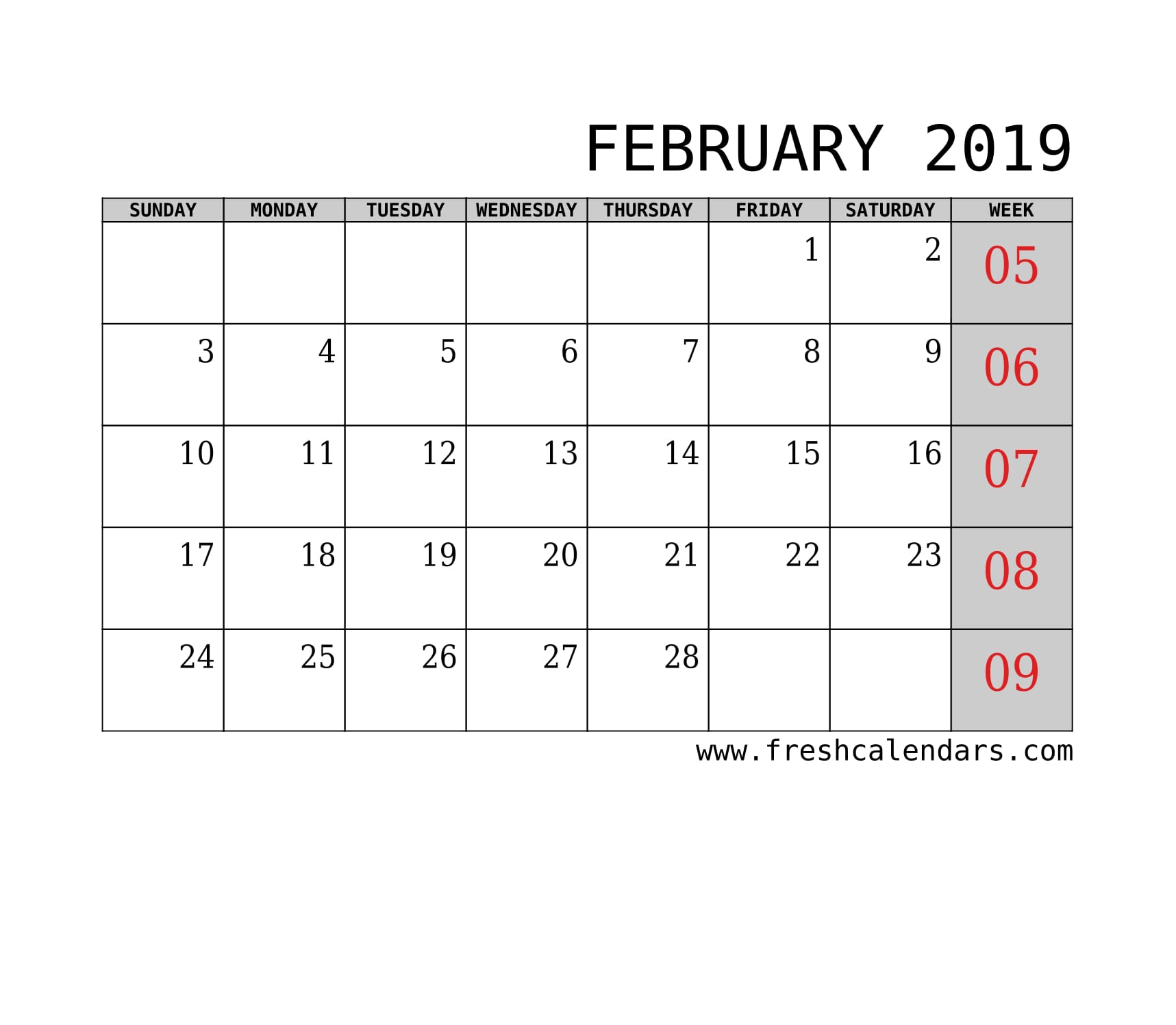 February 2019 Calendar With Week Template Printable