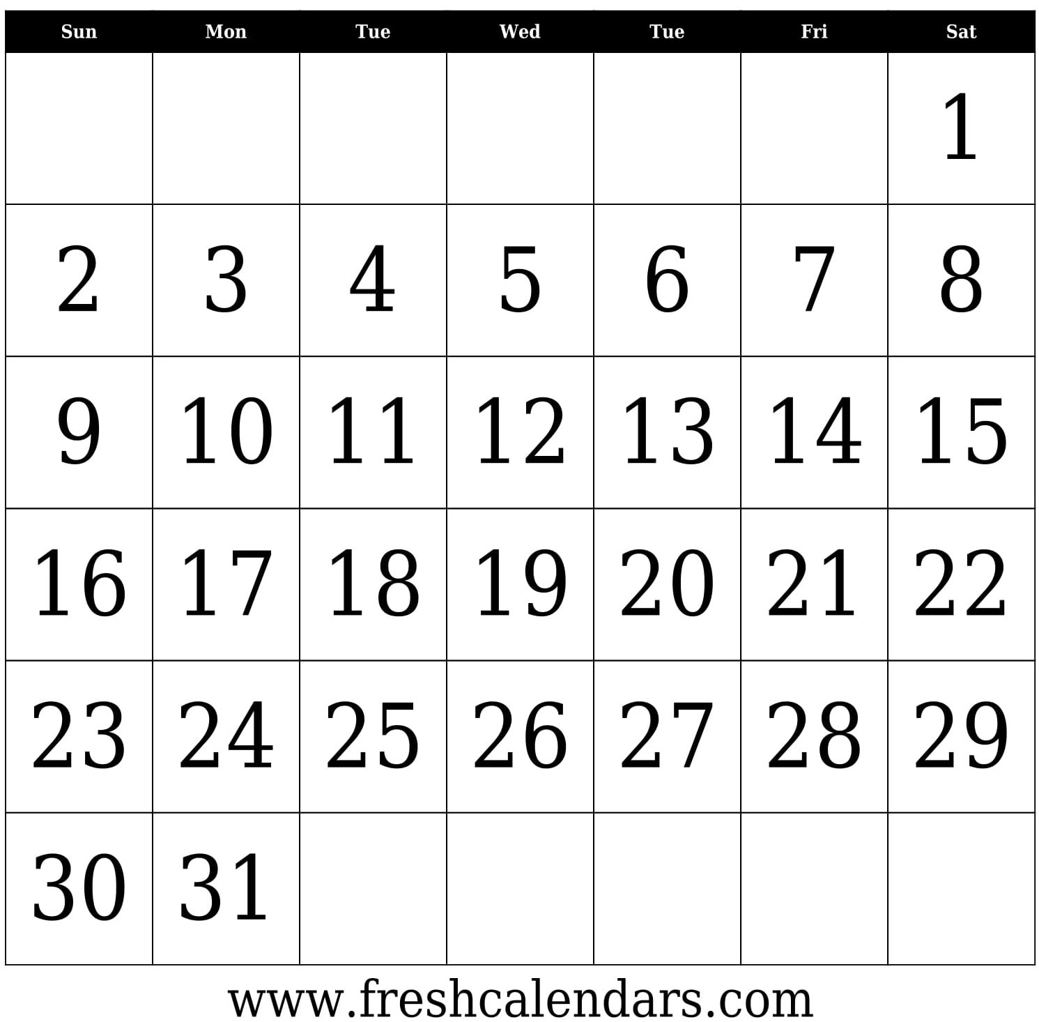 31 days blank calendar template bold