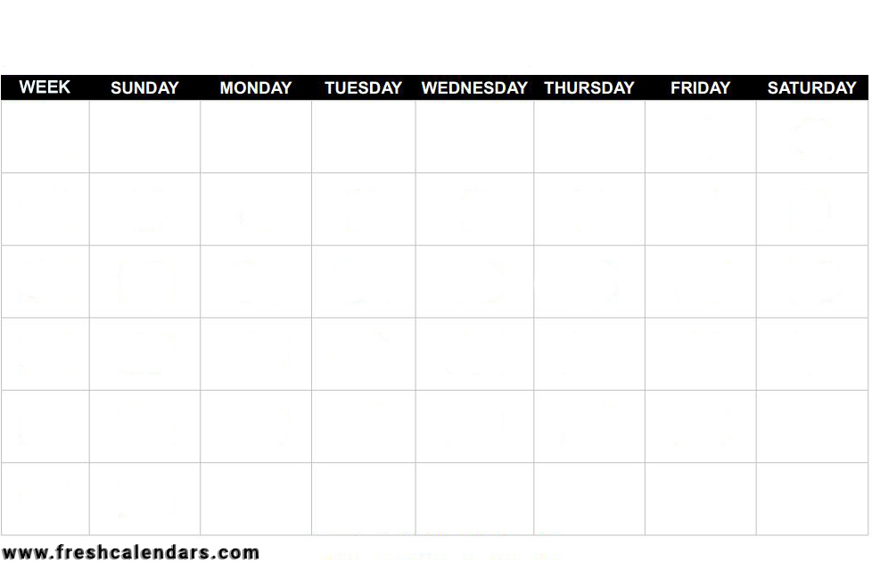 Blank Calendar Free Templates Printable Format (Bold)