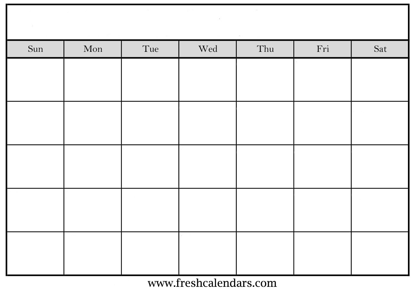 Blank Calendar Template Gray With Week