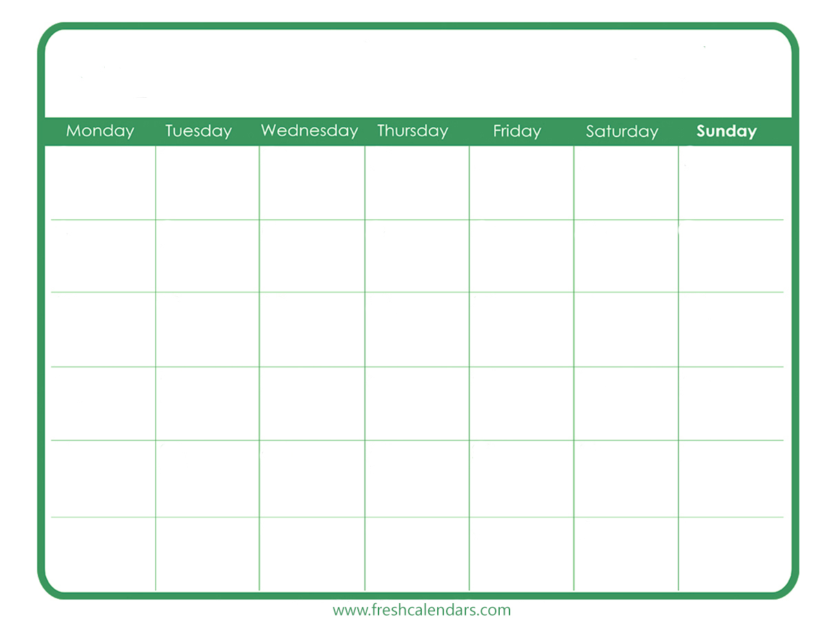 Blank Printable Calendar Simple (Green)