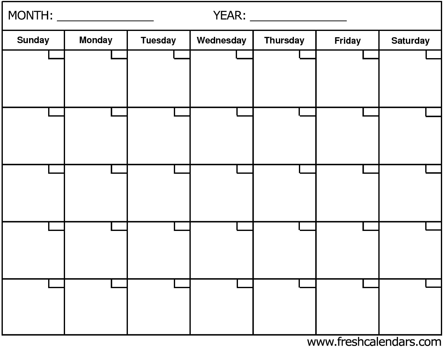 Templates of Blank Calendar with Month and Year