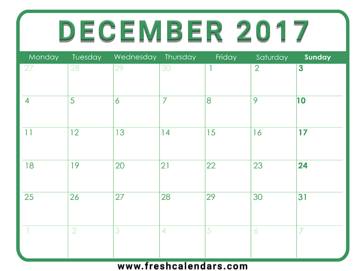 December 2017 Calendar Free Download