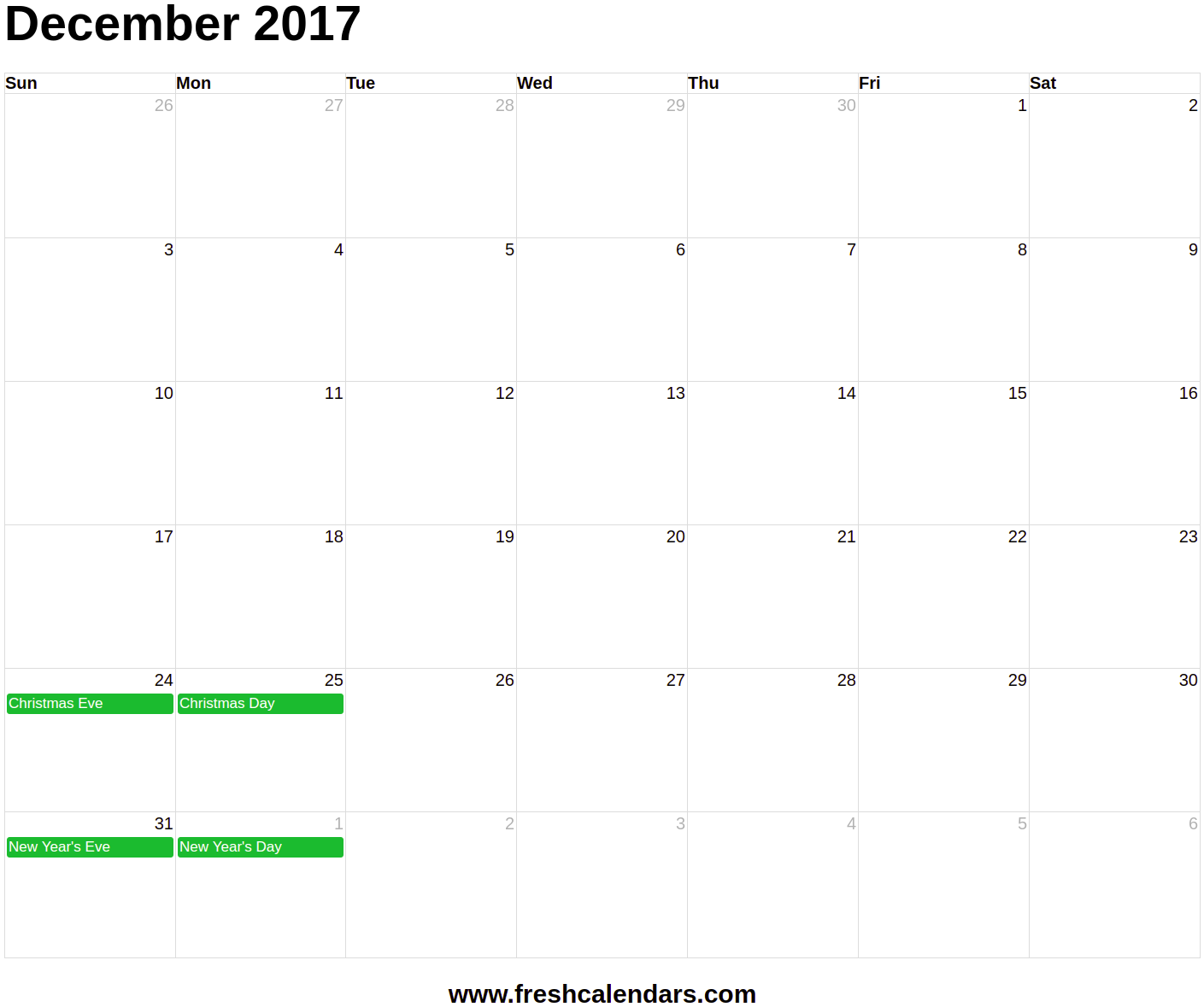 December 2017 Calendar Templates With Holidays