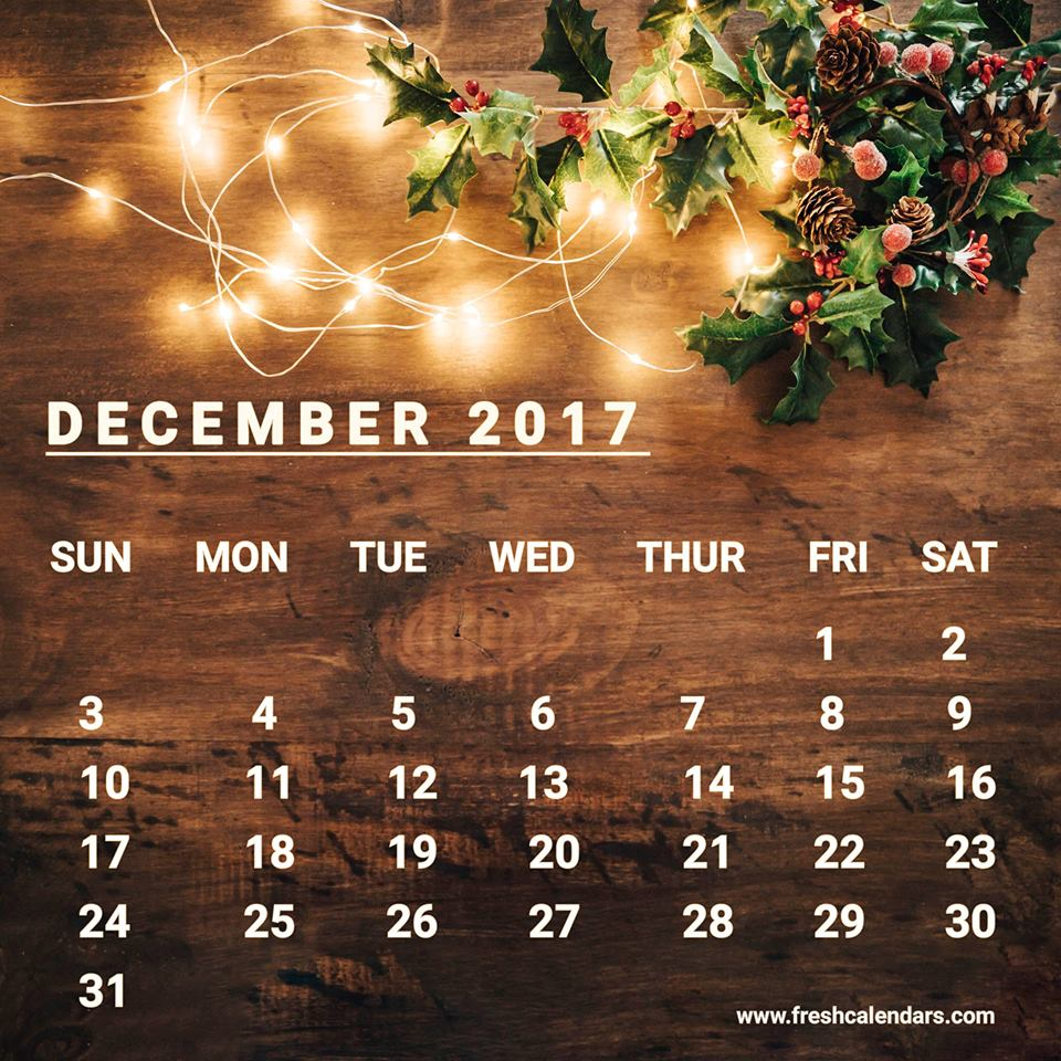 Desk December 2017 Calendar Wallpaper