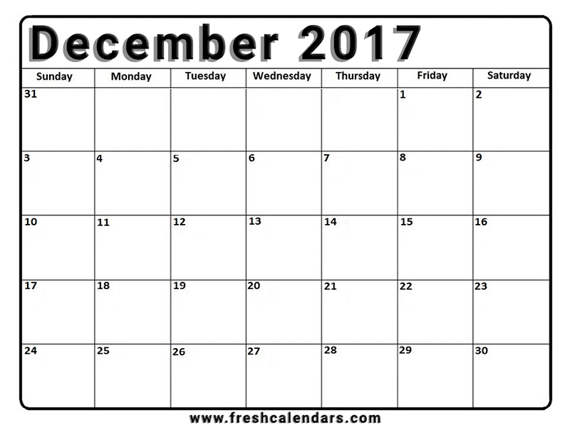 graphic about Printable December Calendar referred to as December 2017 Calendar Printable - Refreshing Calendars