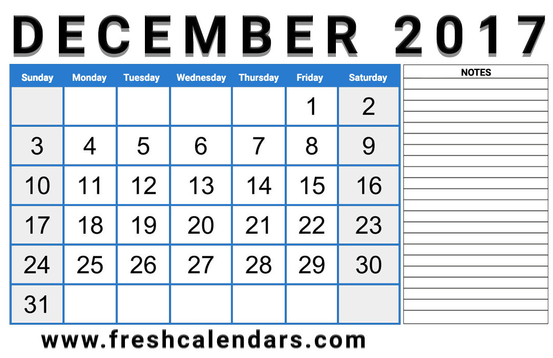 Professional 2017 December Calendar With Notes Layout