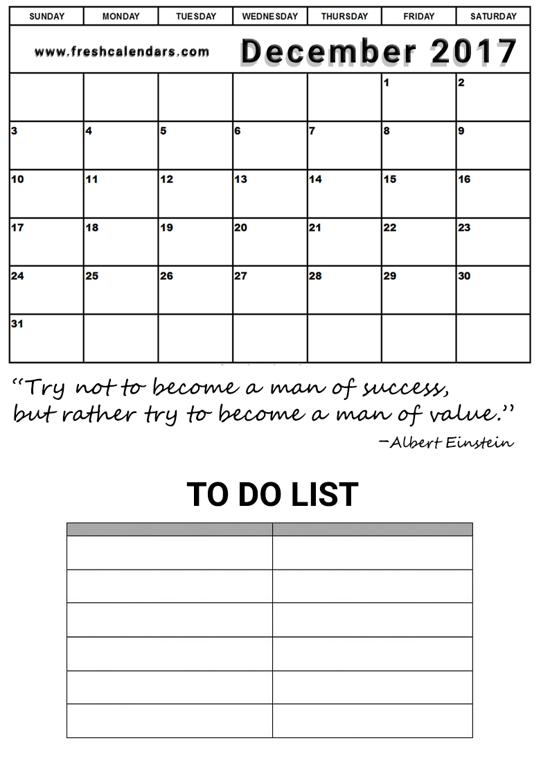 Success Quotes and To Do List December 2017 Calendar