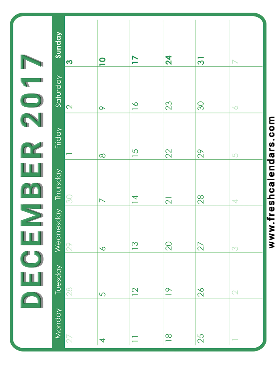 Vertical December 2017 Calendar Free Download Printable