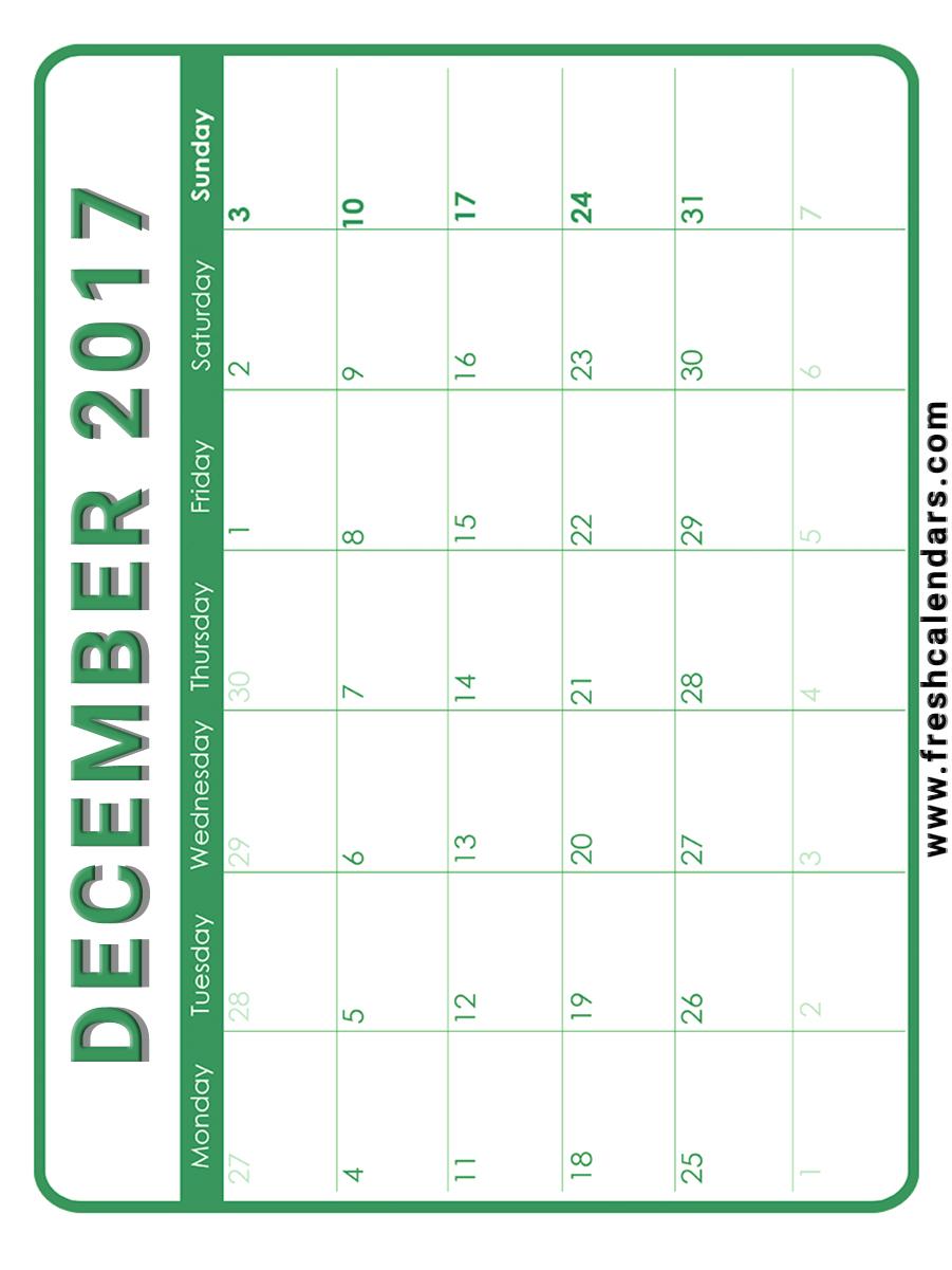 december 2017 calendar printable templates