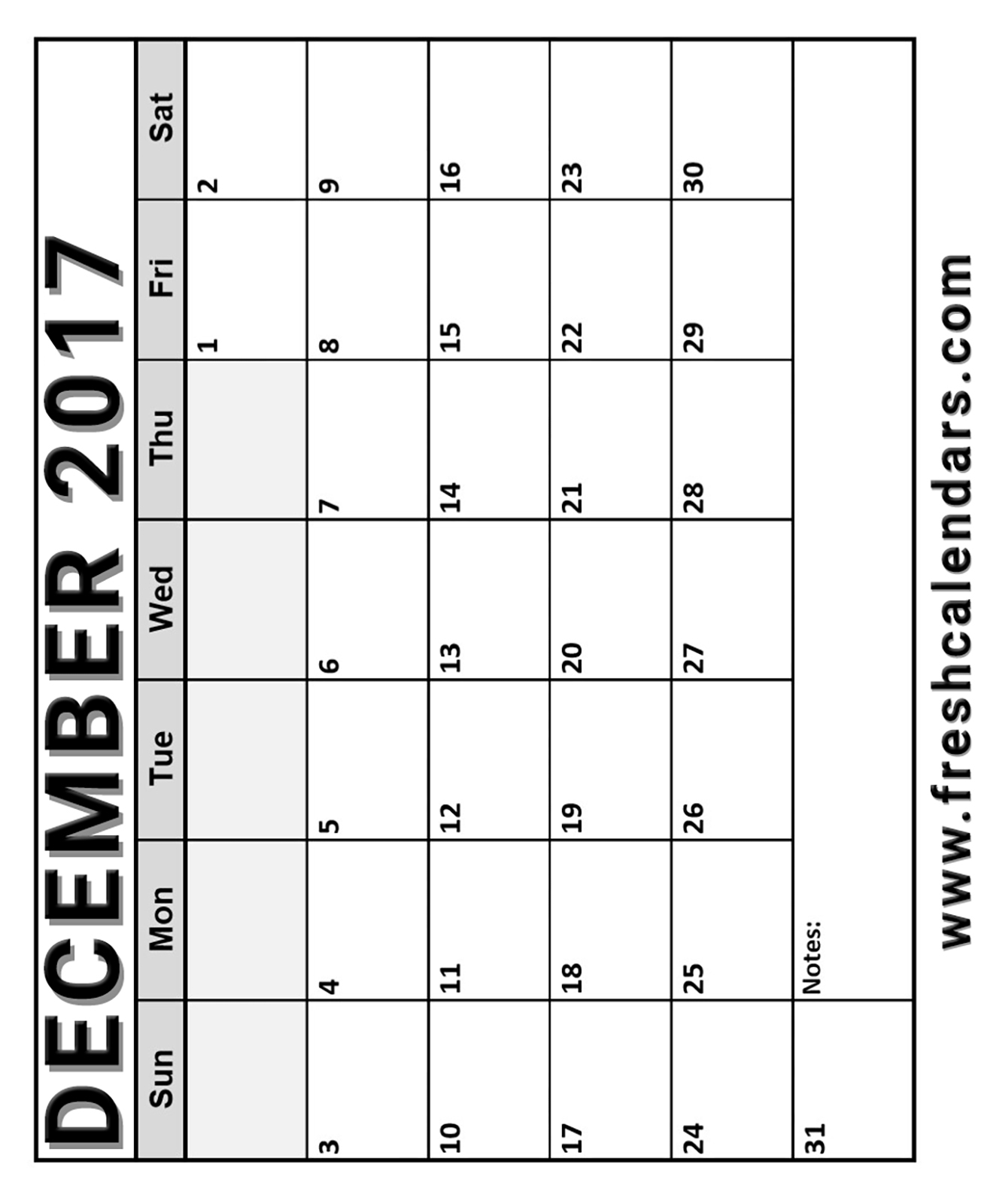 15 best december 2017 calendar printable templates