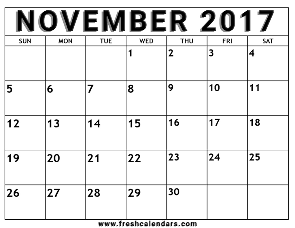 November Monthly Calendar : Blank november calendar printable templates