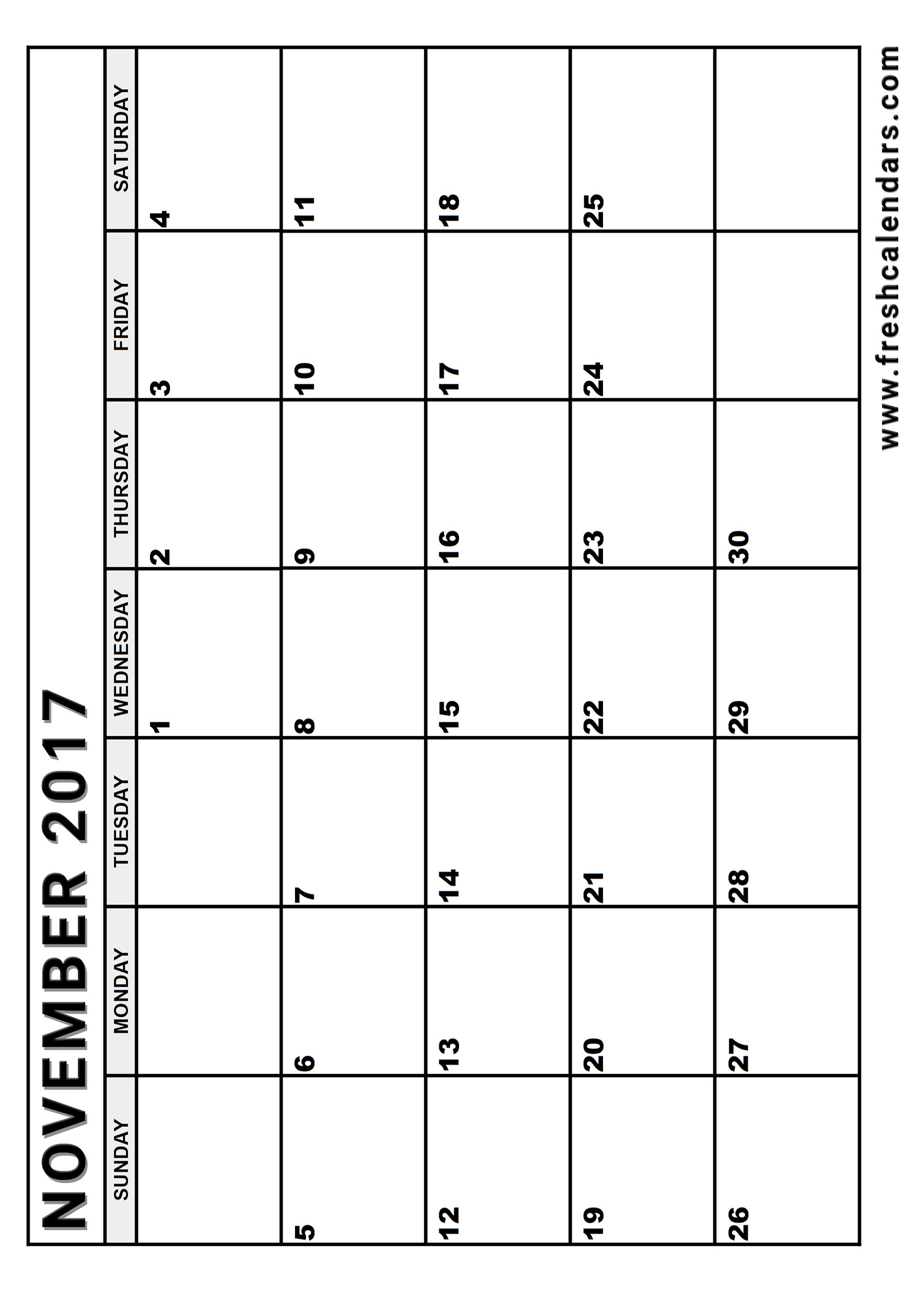 image regarding Vertical Calendar Printable titled November 2017 Calendar Printable Templates