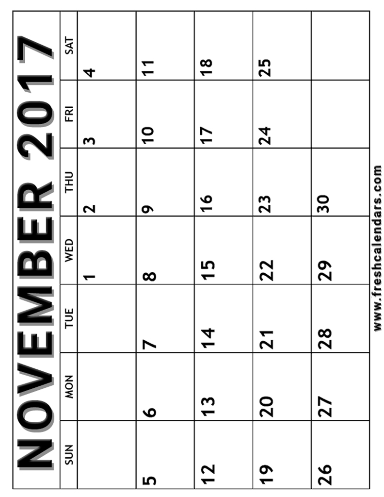 Vertical November 2017 Calendar Free Printable