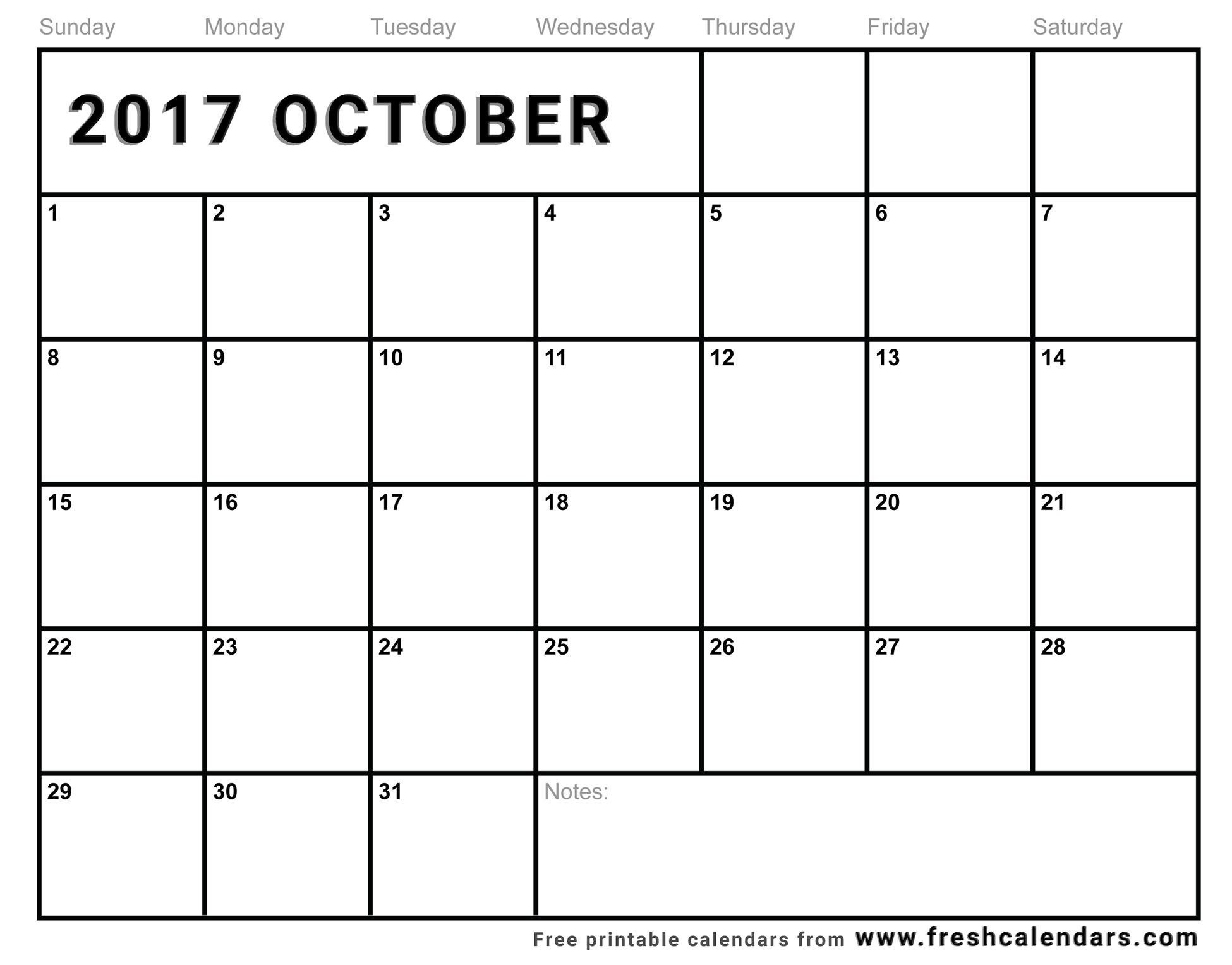 Blank October 2017 Calendar Printable Templates