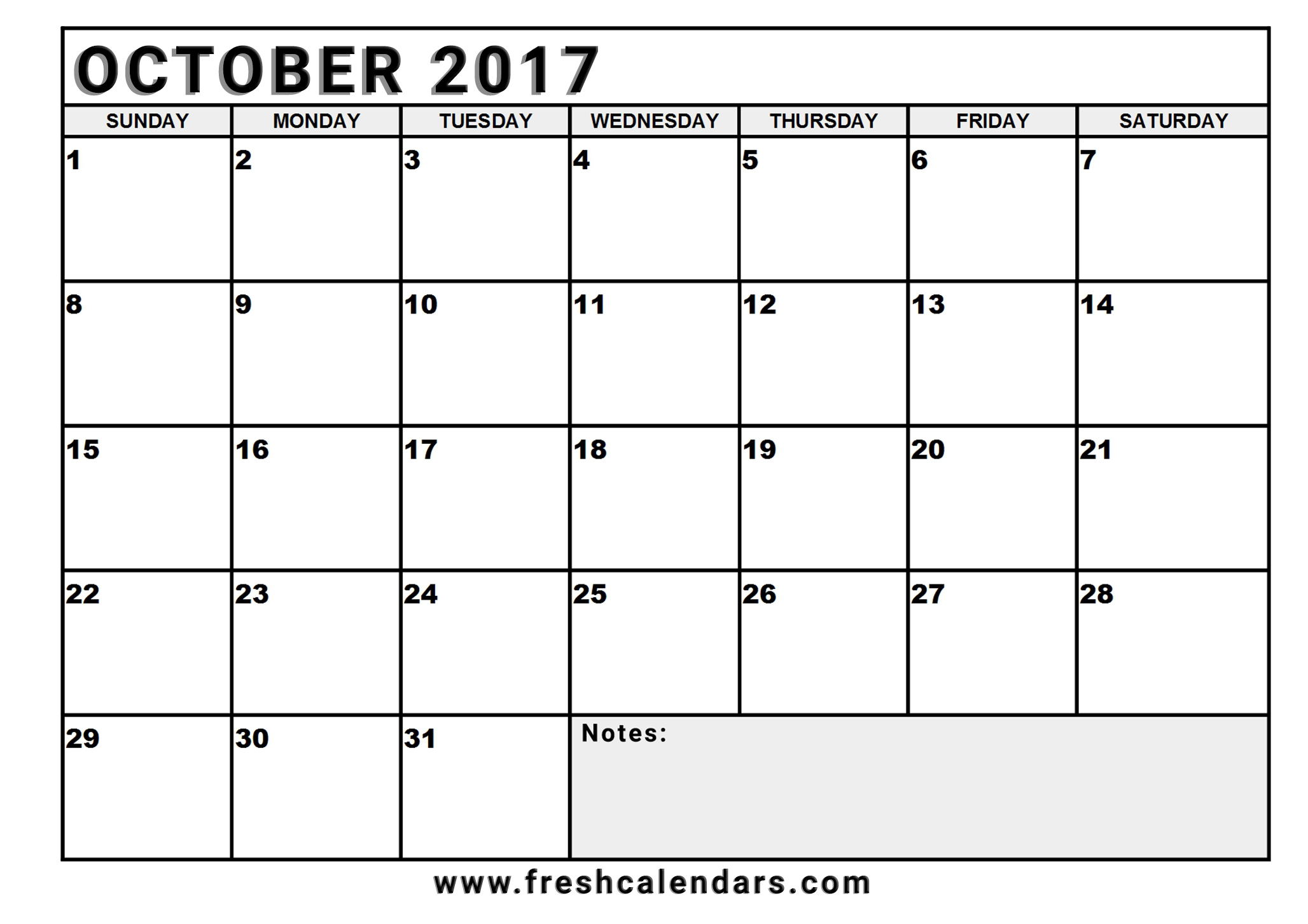 Blank Free Calendar : Best october calendar printable templates