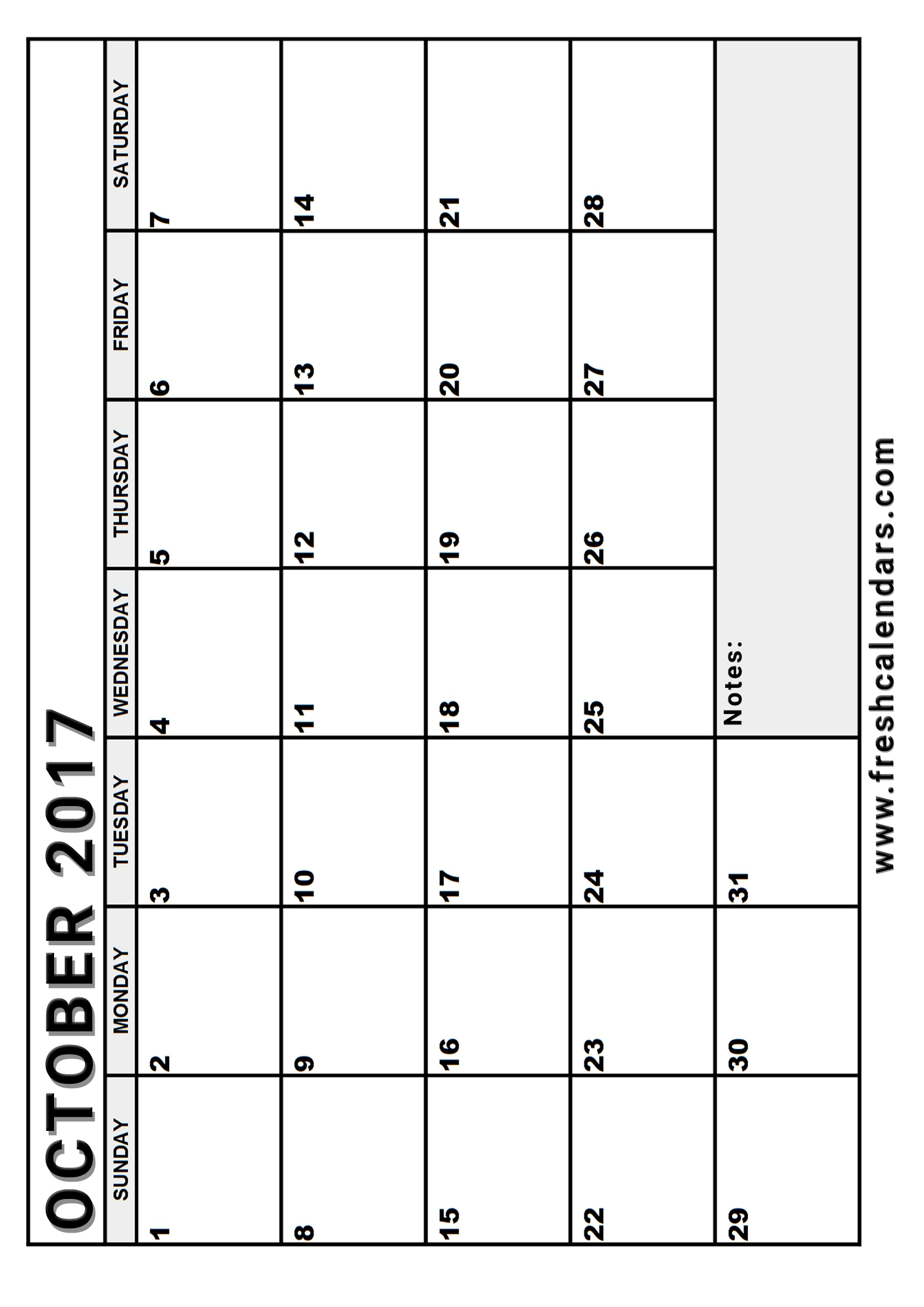 Weekly Calendar Vertical : Blank october calendar printable templates