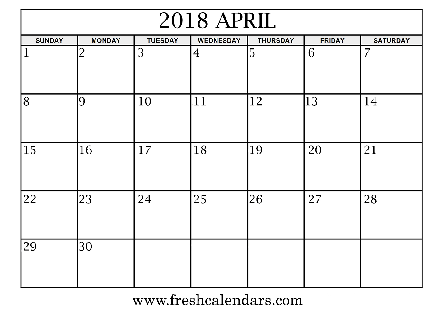 picture relating to April Free Printable Calendar referred to as April 2018 Calendar Printable - New Calendars
