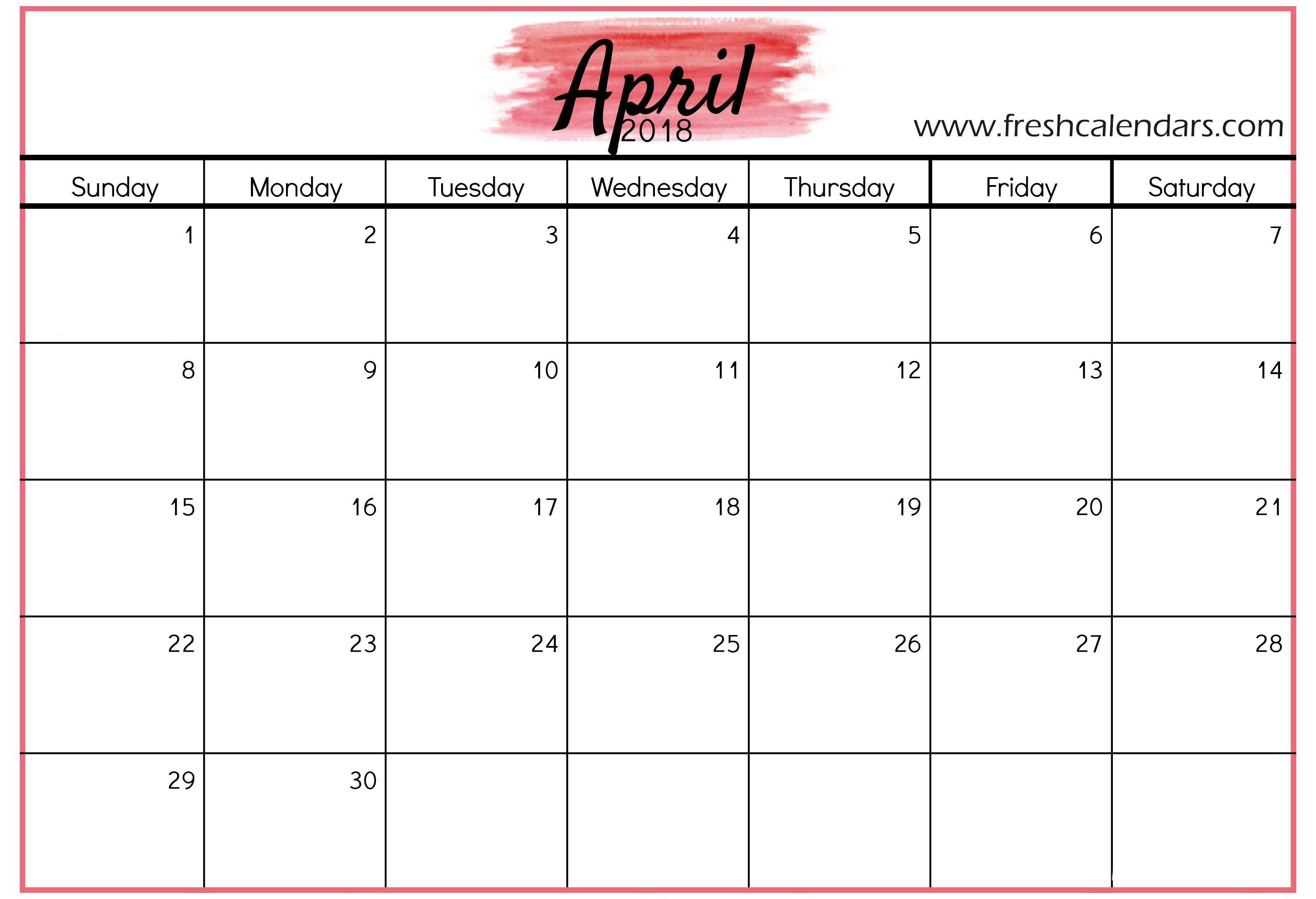 Apr 2018 Calendar Red Background Template