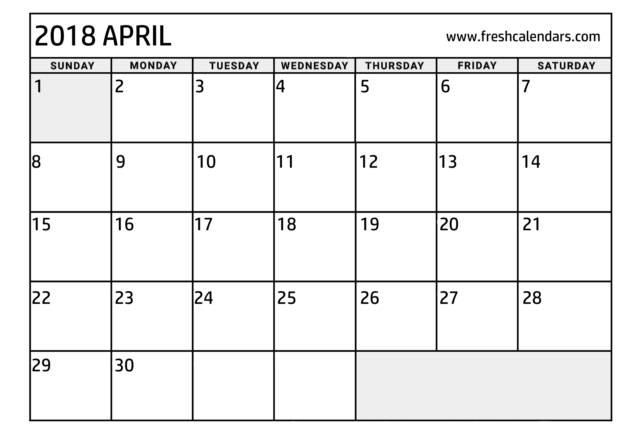 april 2018 calendar blank free printable