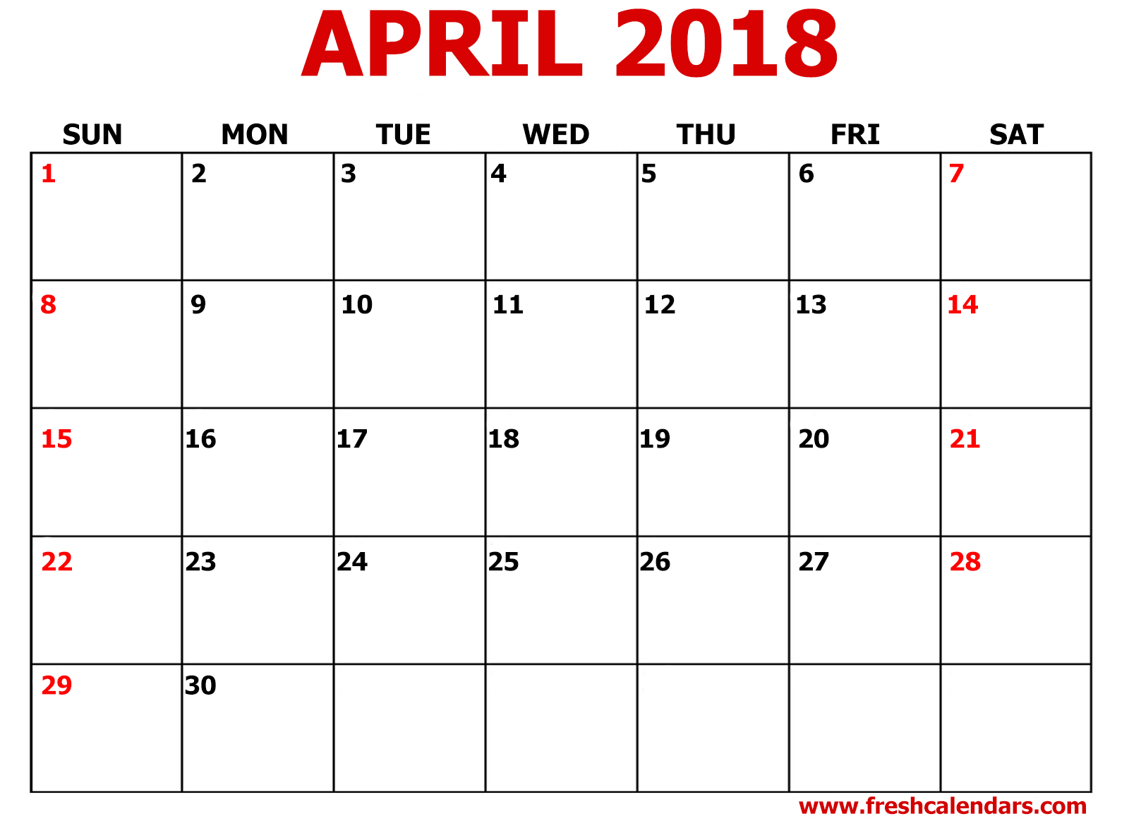 april 2018 calendar printable template