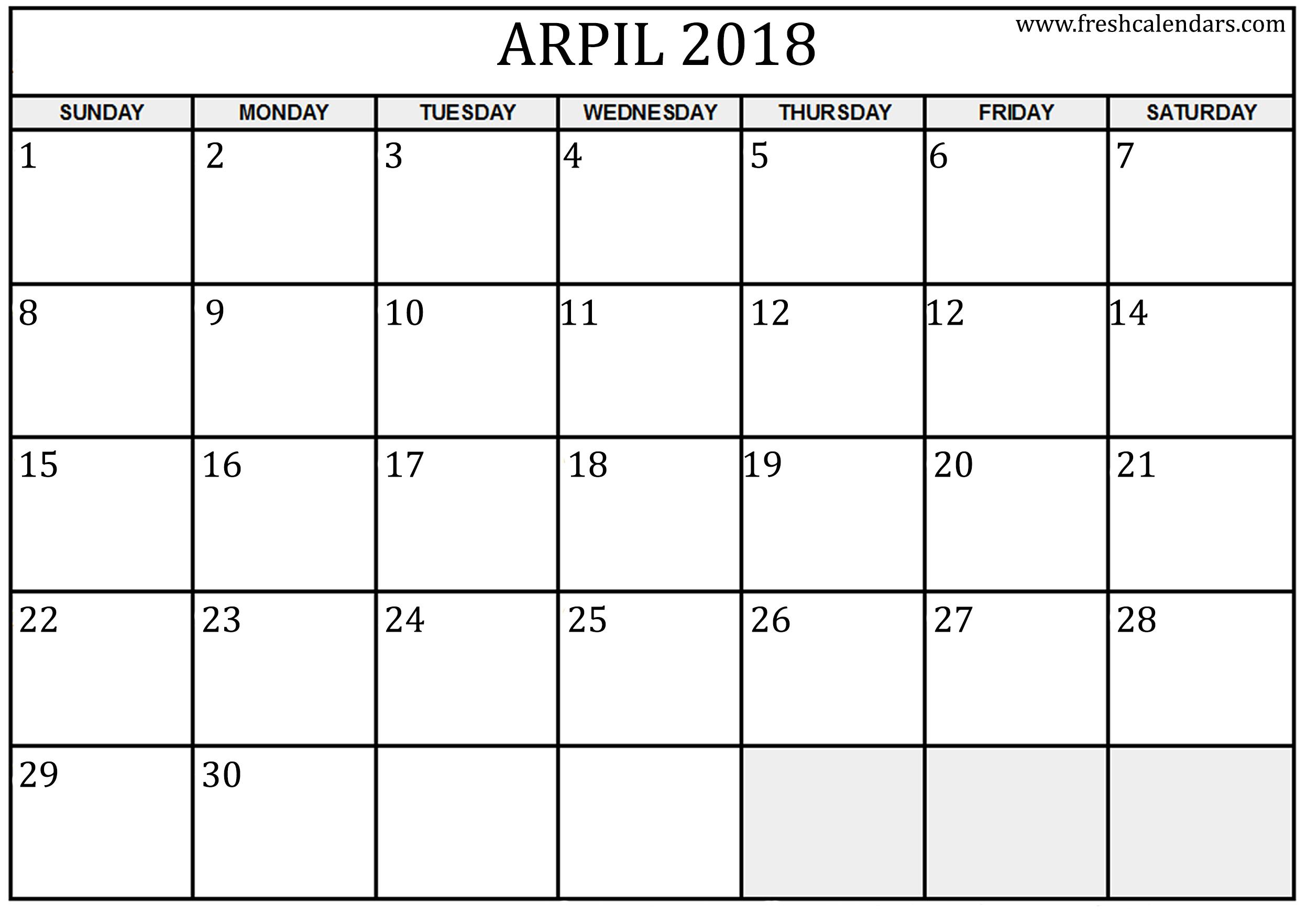 Calendar April 2018.April 2018 Calendar Printable Fresh Calendars