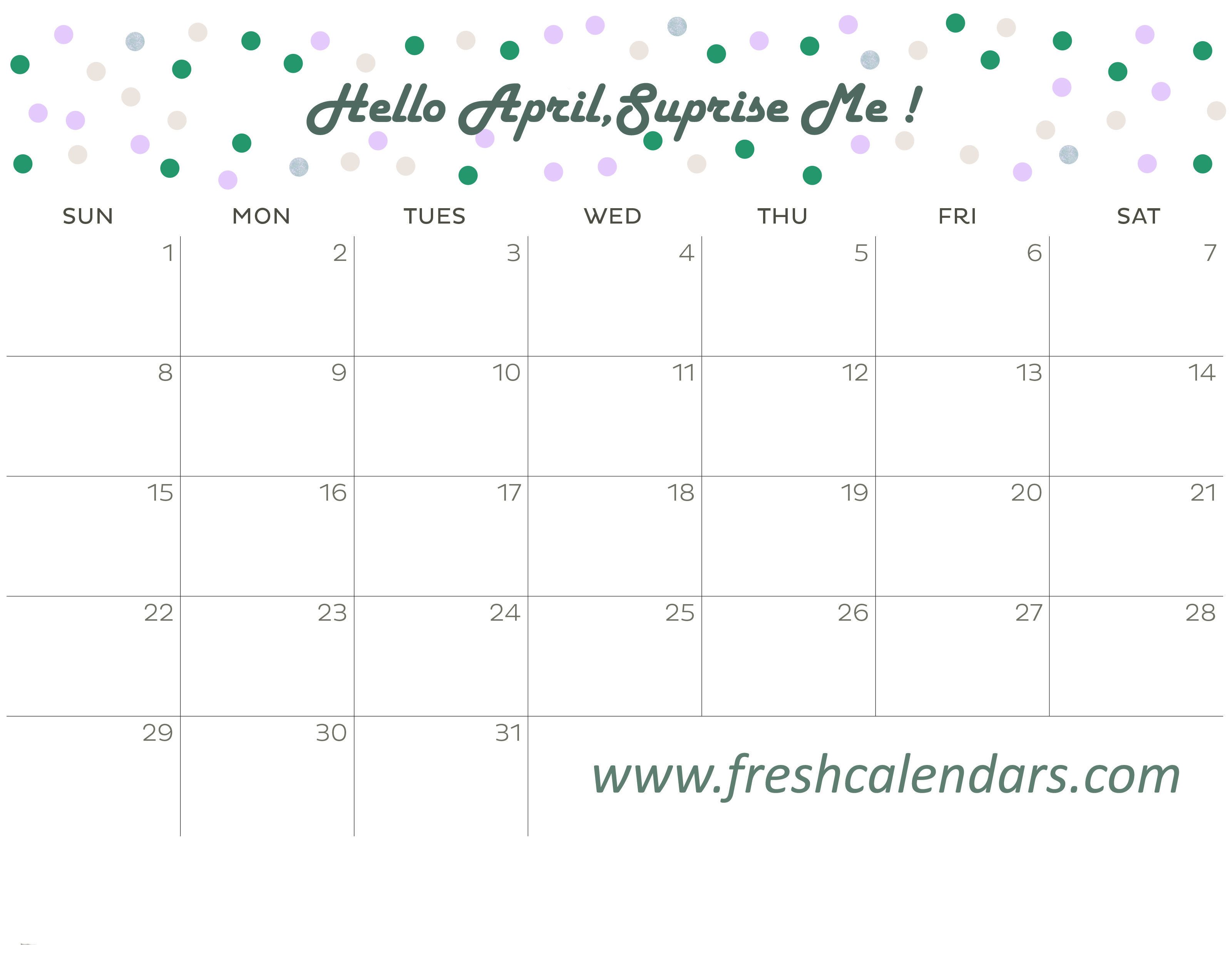 April Calendar 2018 (Hello Message)