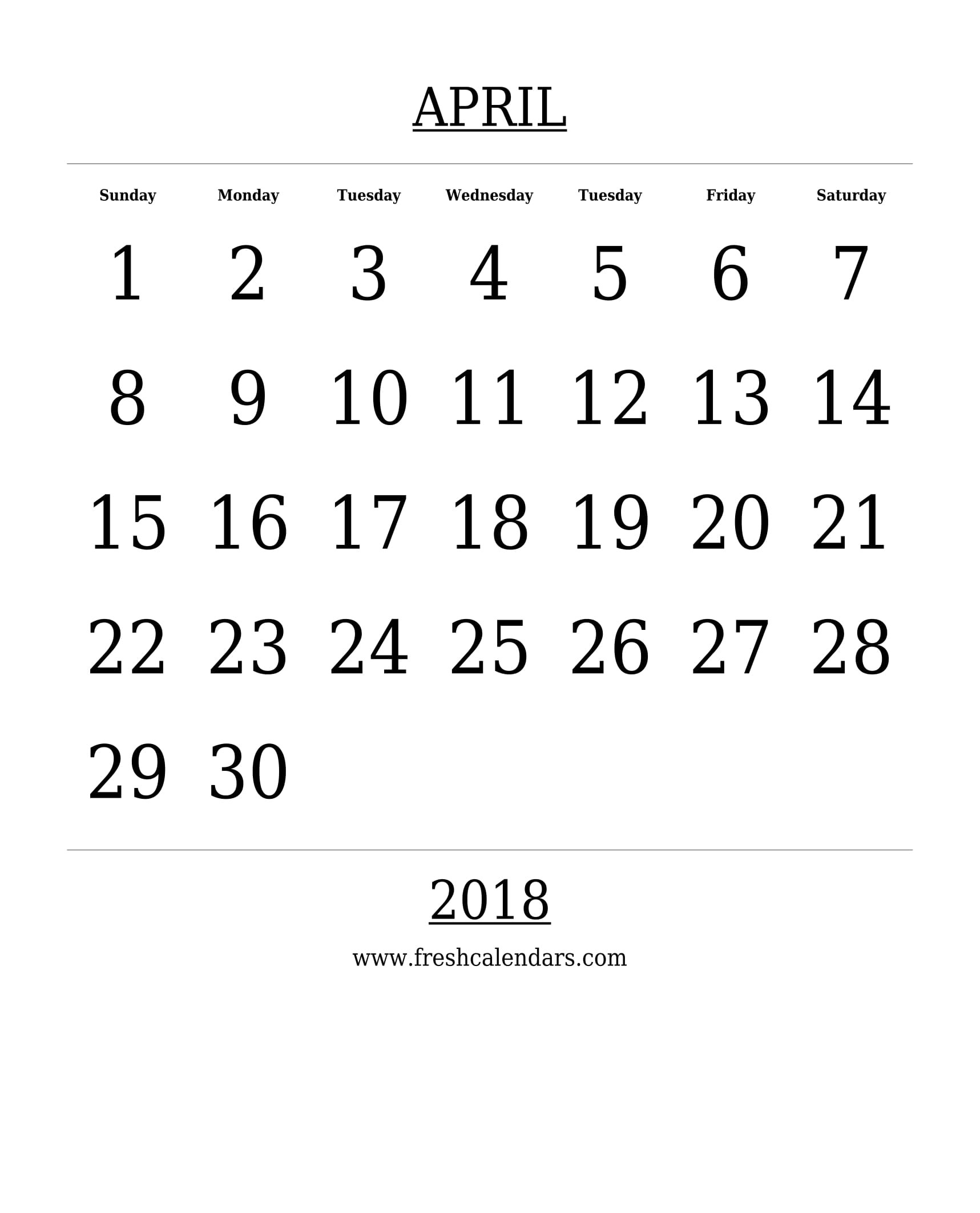 Free Printable Template April 2018 Calendar Bold Style