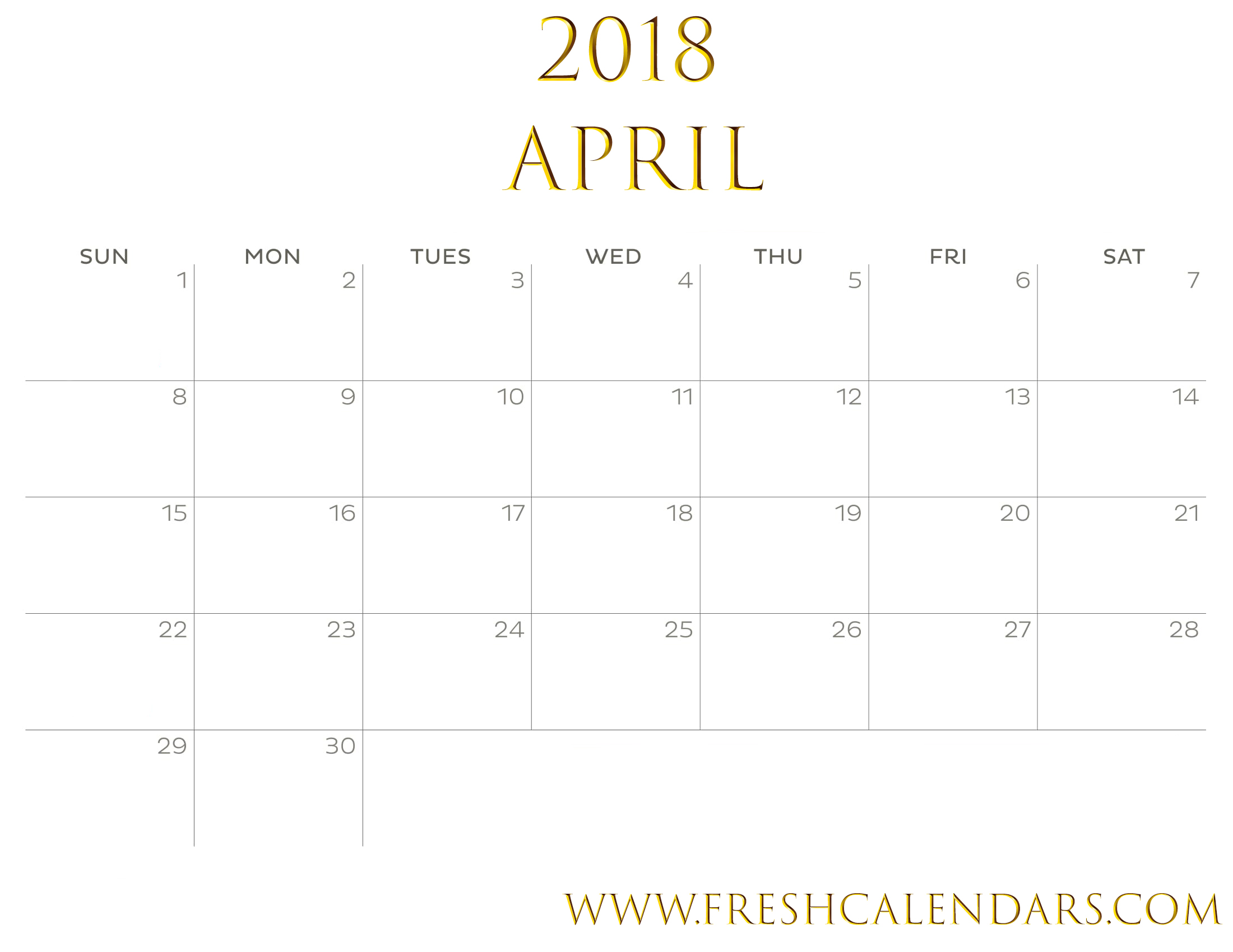 Gold April 2018 Calendar Printable