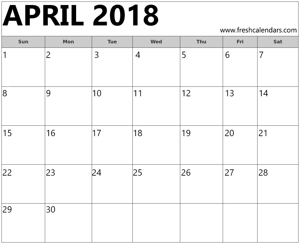 HD Online Printable 2018 April Calendar Template