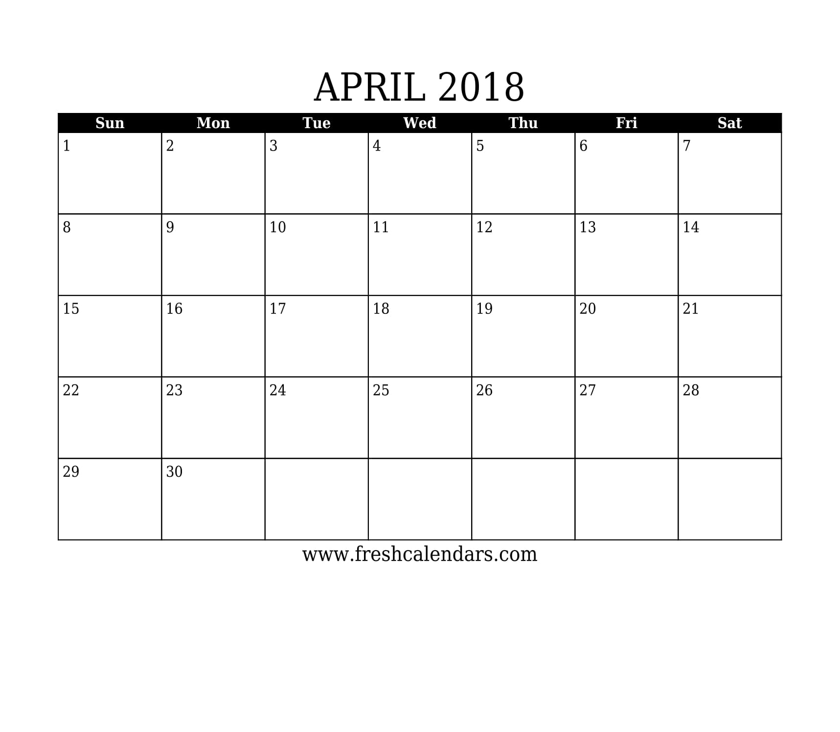 Simple and Strong April 2018 Calendar Printable Template