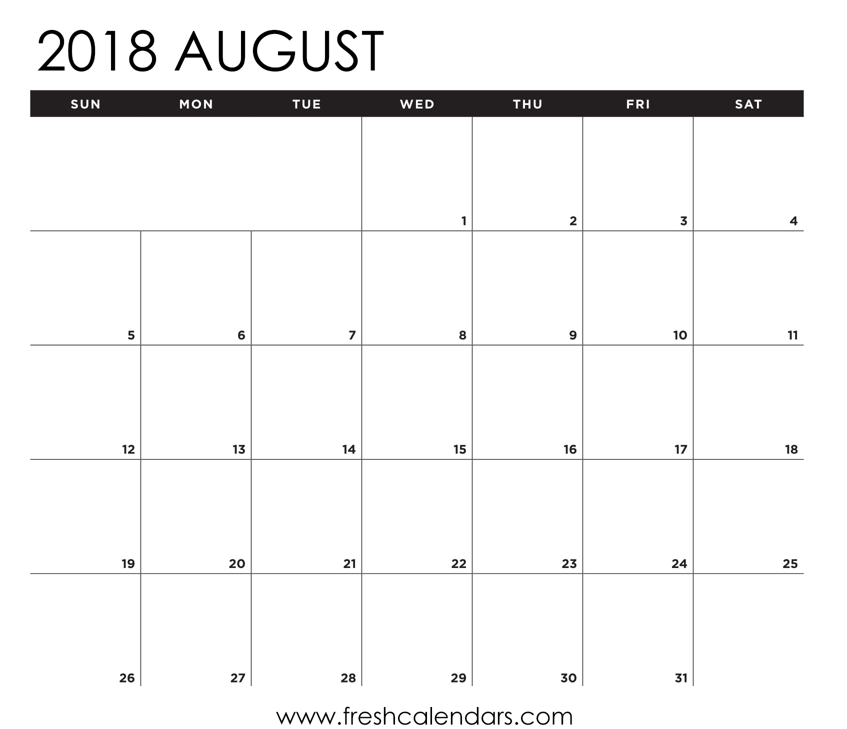 blank august 2018 calendar printable templates. Black Bedroom Furniture Sets. Home Design Ideas