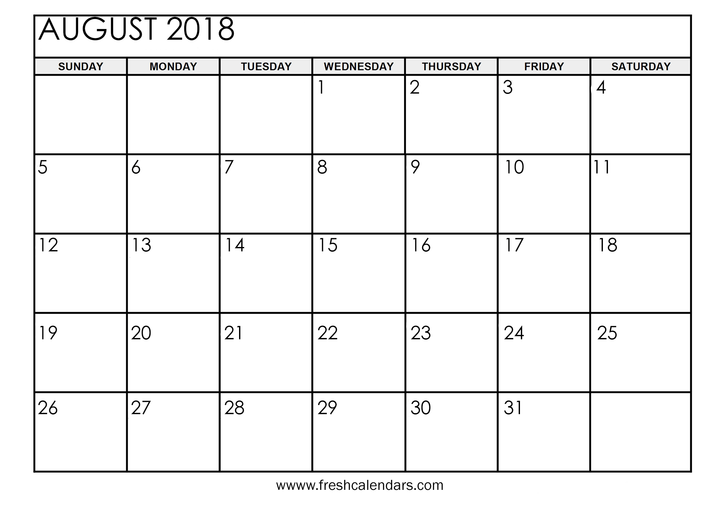 photograph regarding Printable Monthly Calendar August referred to as August 2018 Calendar Printable - Clean Calendars
