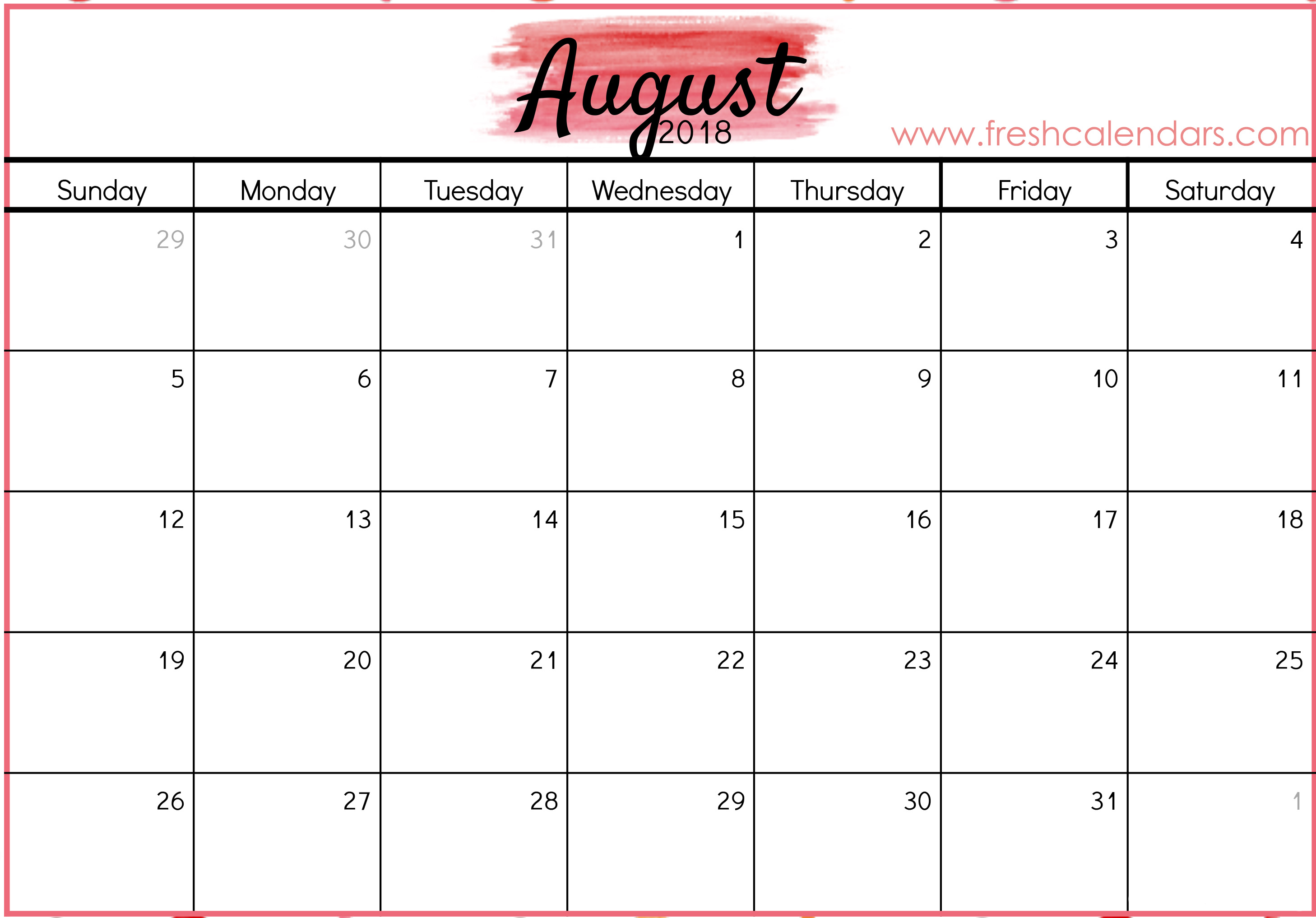 image relating to Printable August Calendar named August 2018 Calendar Printable - Fresh new Calendars