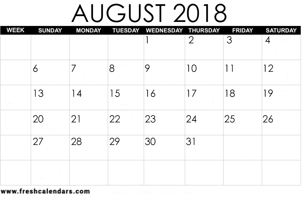 Bold and Simple August 2018 Calendar