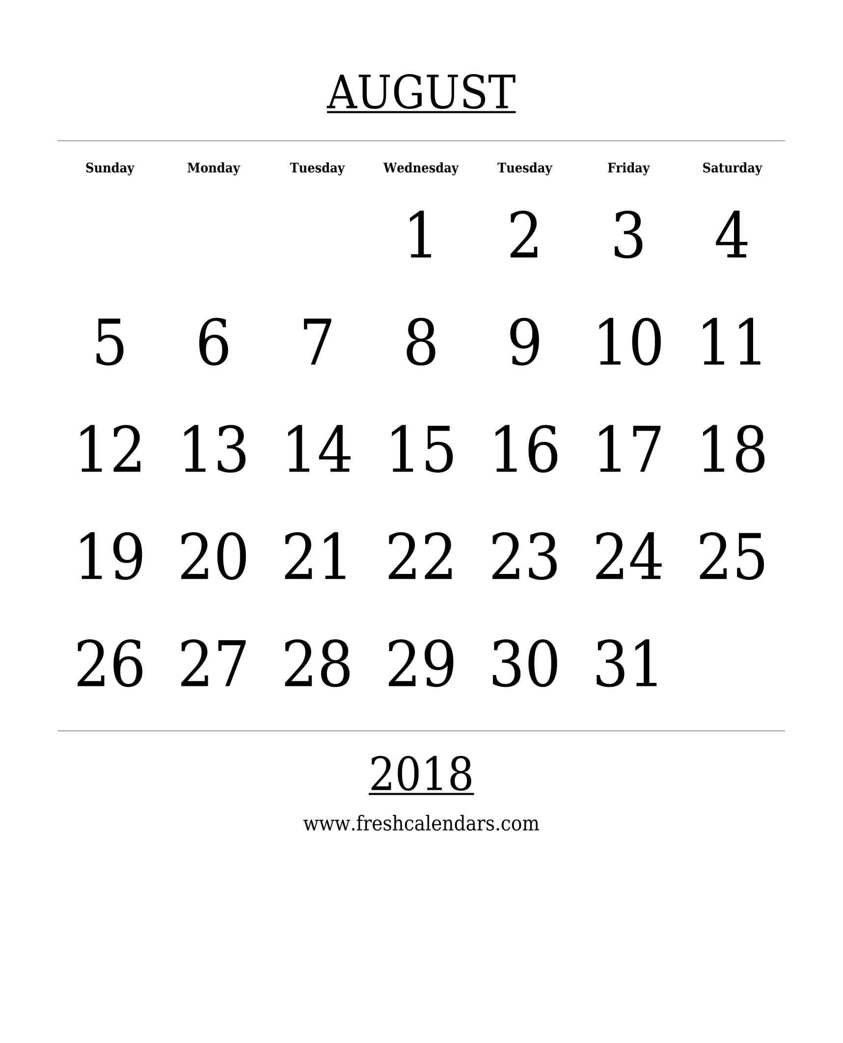 Free Printable Template August 2018 Calendar Bold Style
