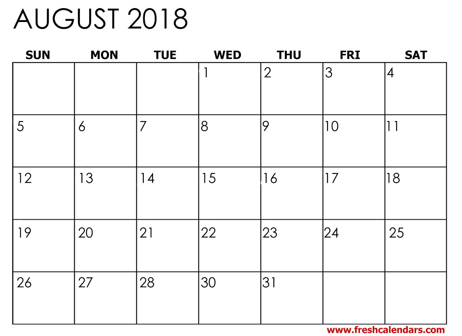 simple august calendar