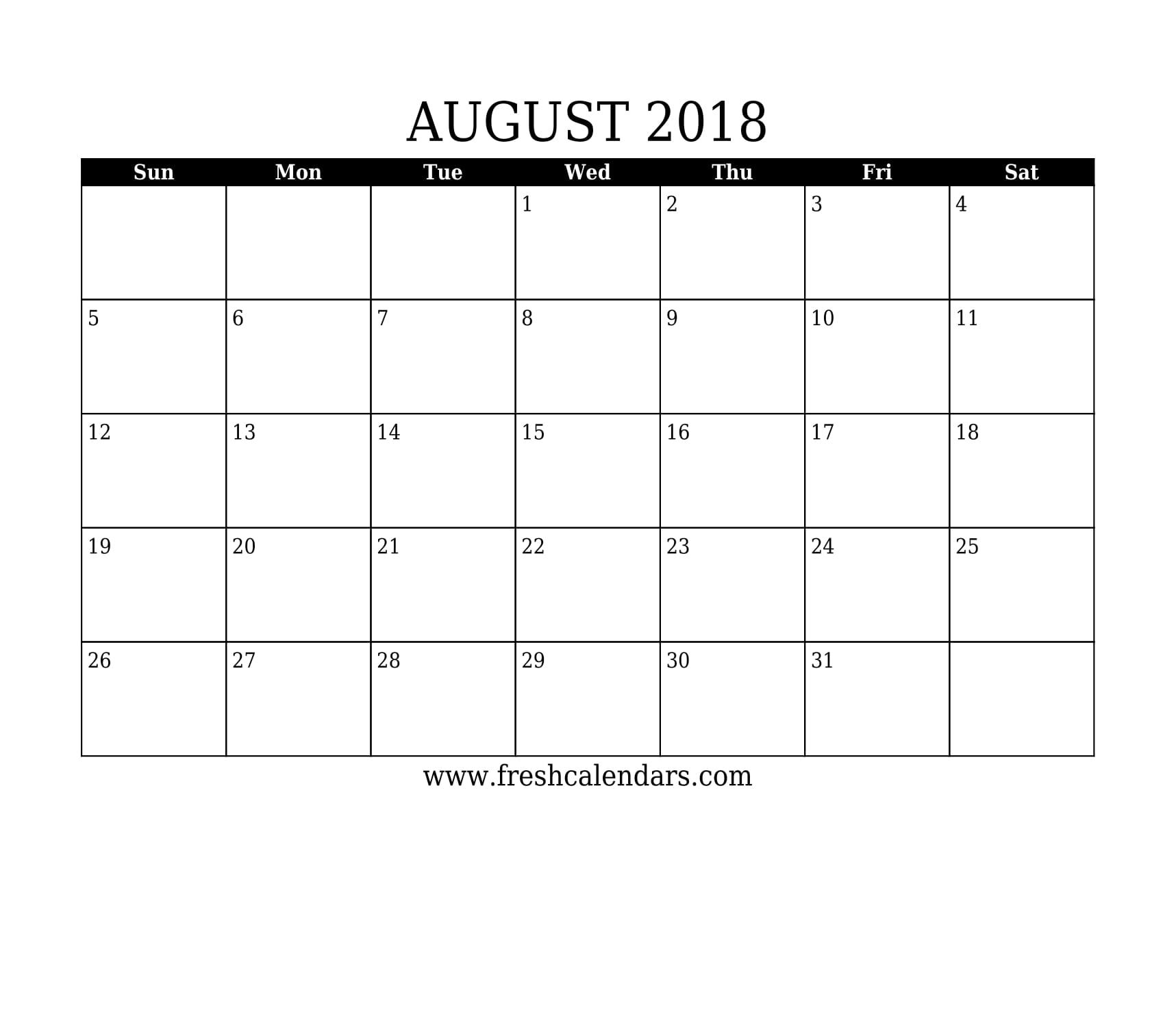 simple and strong august 2018 calendar printable template