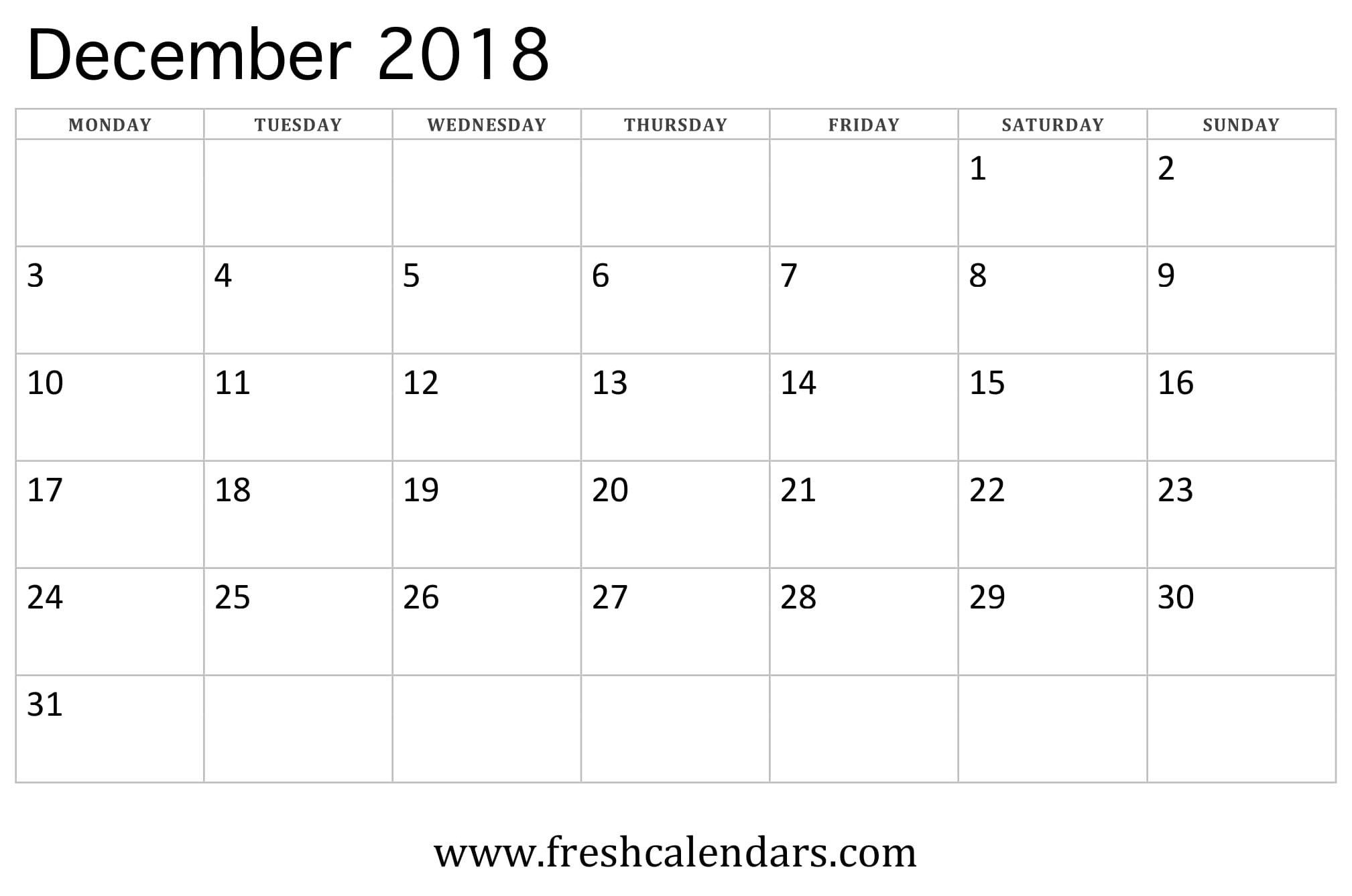 december 2018 calendar week starts on monday