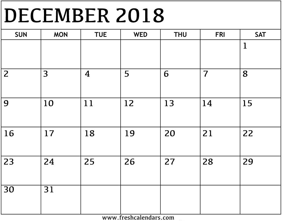 december 2018 calendar printable format
