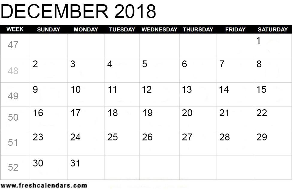 December 2018 Calendar Printable Templates