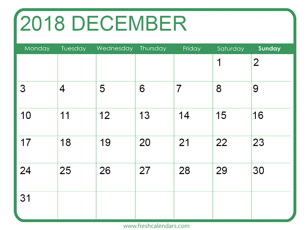 December 2018 calendar printable green template