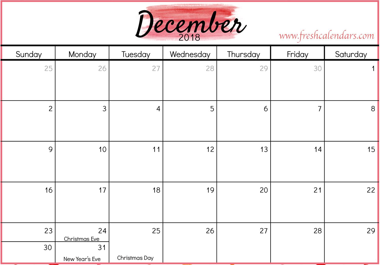 December 2018 calendar red template