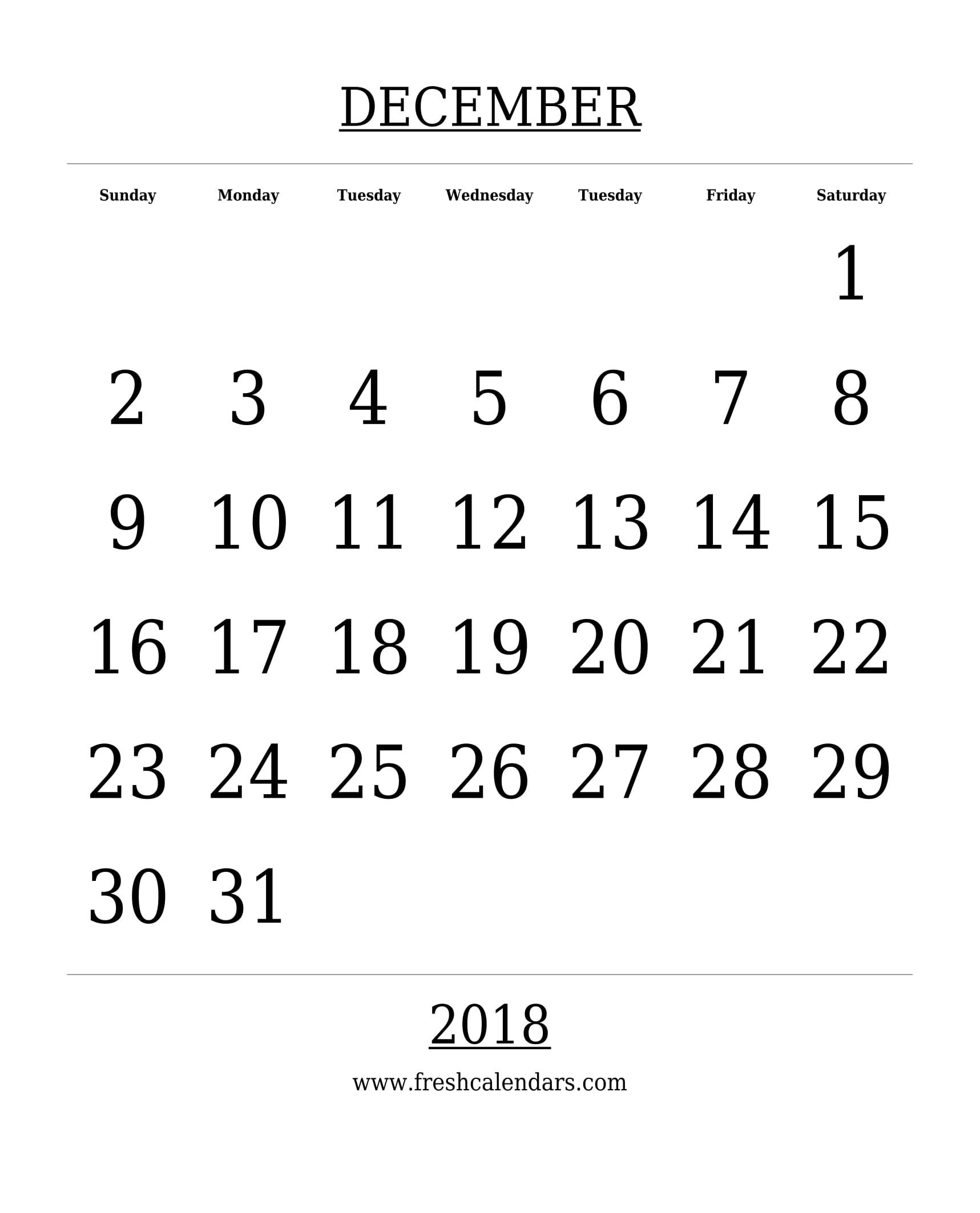 free printable template december 2018 calendar bold style
