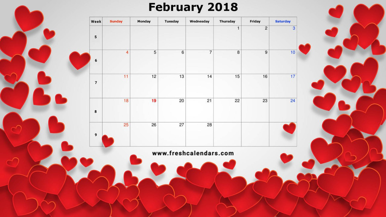 2018 Calendar Valentines Day Special