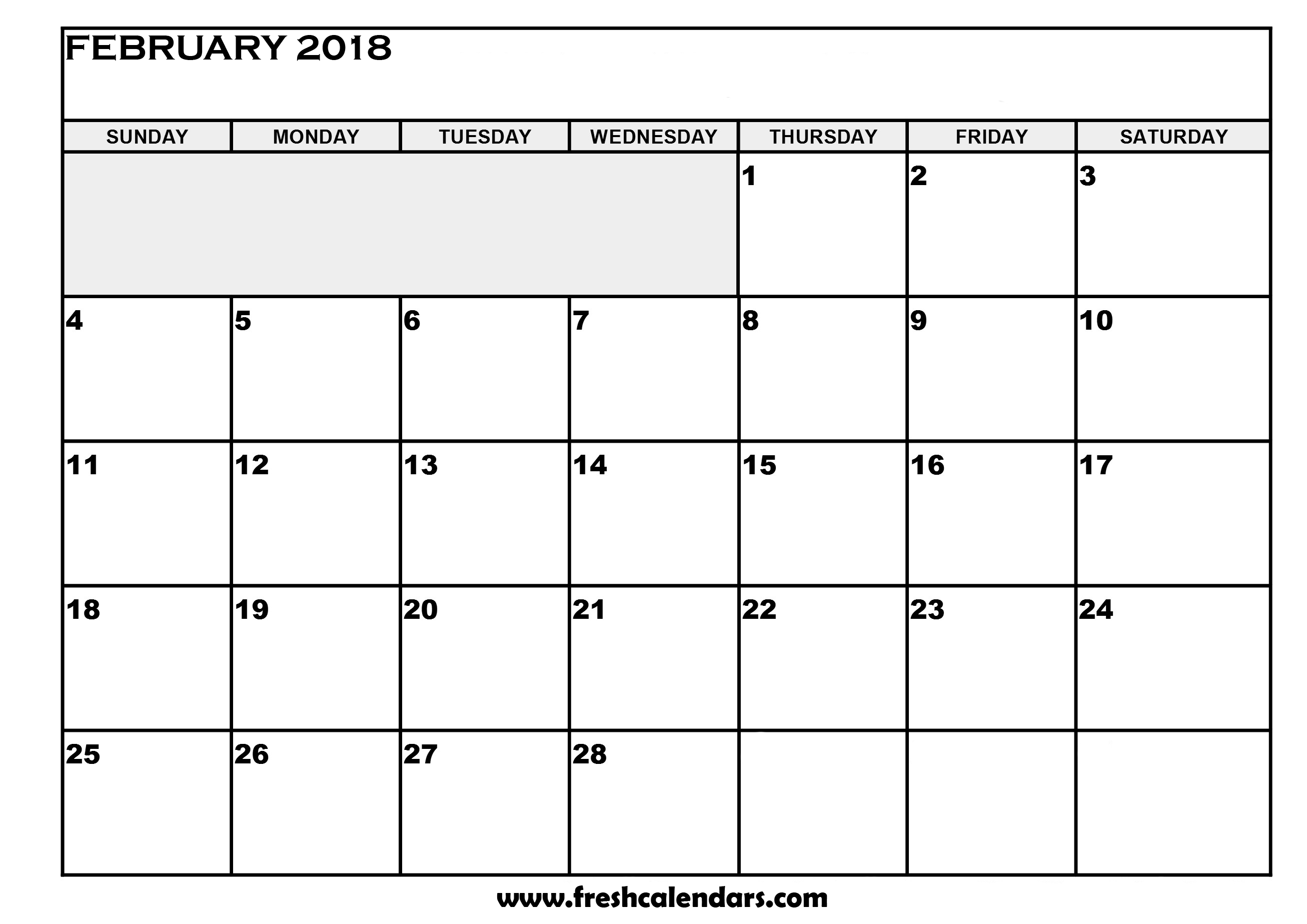 2018 February Calendar Download Template, February 2018 Calendar